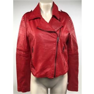 Zara Red Leather Biker Jacket Size L